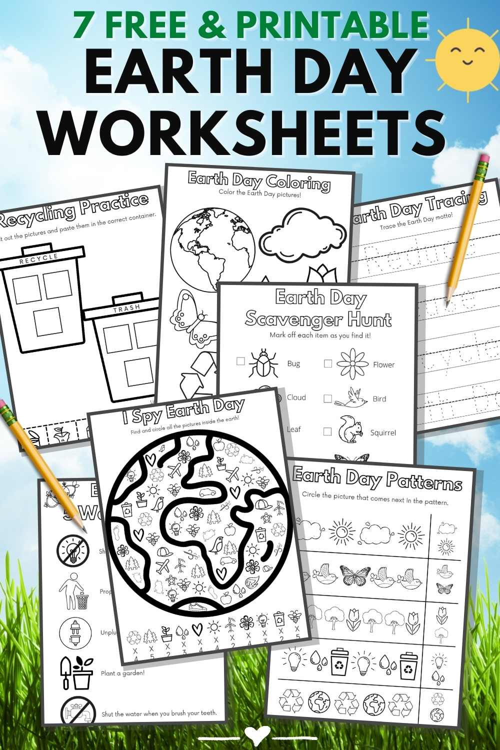 15 Fun Earth Day Crafts & Activities- printable worksheets