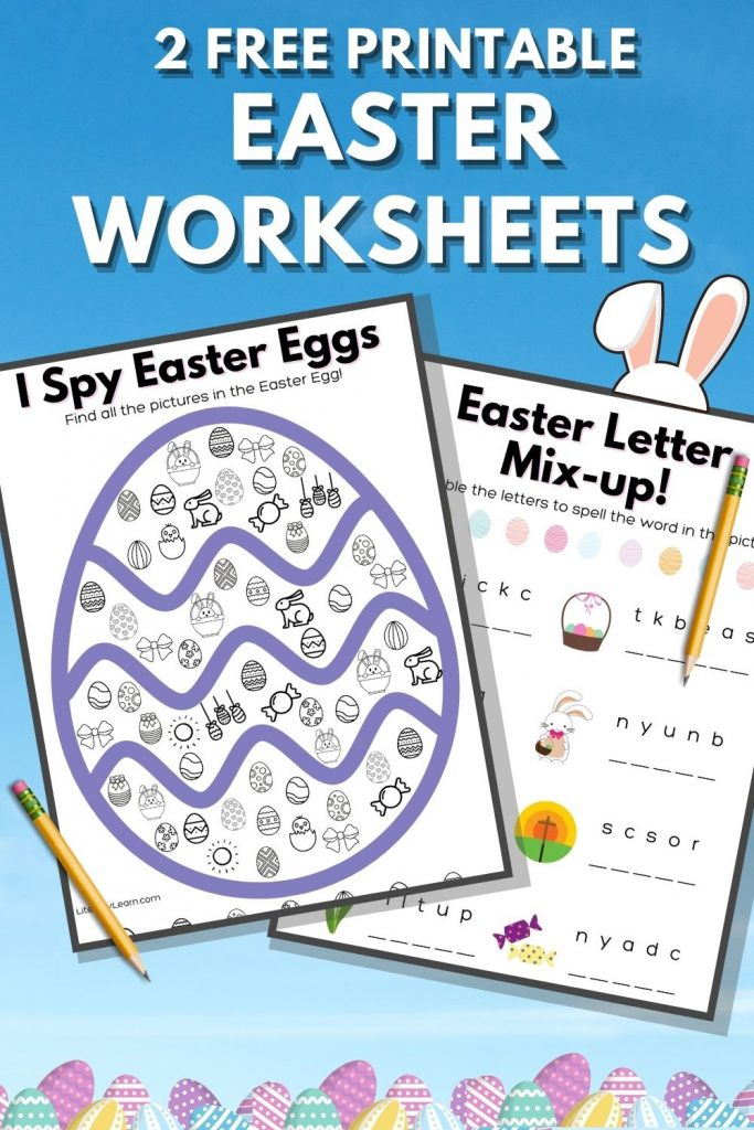 "Graphic with the two worksheets and the words ""2 Free Printable Easter Worksheets."""